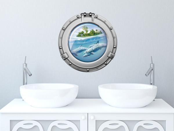 Wandsticker Wandaufkleber Badezimmer Bullauge Delfine Palmen WC