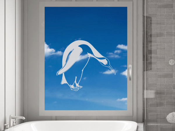 Fensterfolie Bad, Fenstertattoo Pinguin Meer