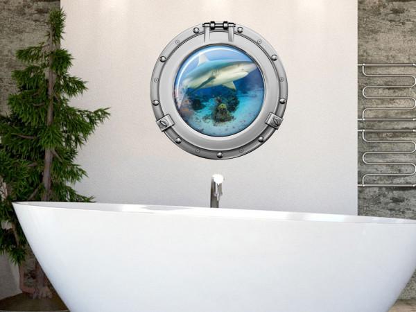 Wandsticker Wandaufkleber Badezimmer Bullauge weißer Hai Fische
