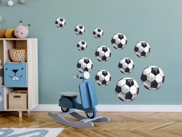 Wandtattoo 12 Fussbälle Fussball Kinderzimmer, Wandaufkleber für Jungen, Deko für Babyzimmer Baby Jungenzimmer Jungs, Aquarell