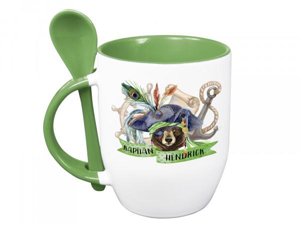 Tasse mit Löffel personalisiert mit Namen und Pirat