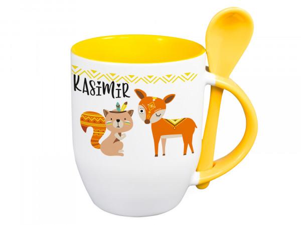 Tasse mit Löffel Name personalisiert und Indianer Tiere