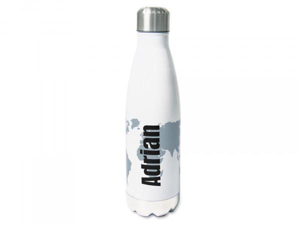 Trinkflasche personalisiert mit Namen und Weltkarte