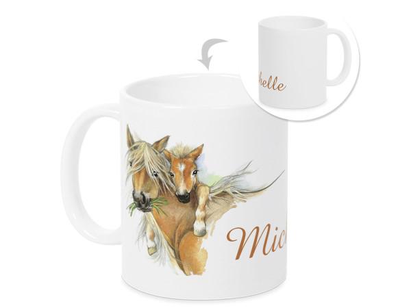 Tasse für Mädchen Pferd und Fohlen mit Wunschname