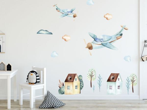 Wandtattoo Flugzeug und Häuser Kinderzimmer, Wandaufkleber Wolken für Jungen, Deko für Babyzimmer Baby Jungenzimmer Jungs, Aquarell
