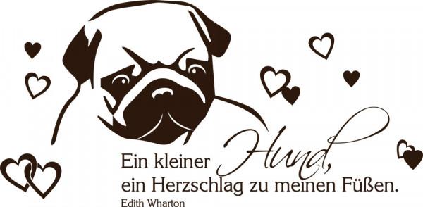 Wandtattoo Tiere Sprüche für Wohnzimmer Spruch Ein kleiner Hund, ein Herzschlag