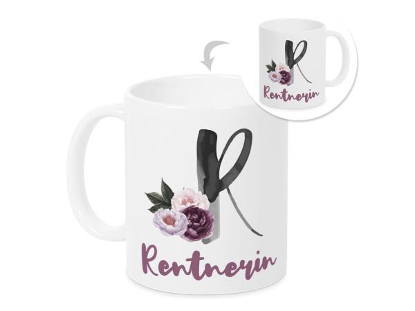 Tasse Rentnerin Rentenbeginn mit Blumen
