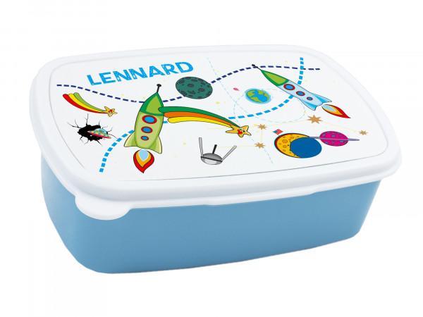 Brotdose Kinder mit Namen für Jungen, Lunchbox Blau Brotzeitdose Weltraum