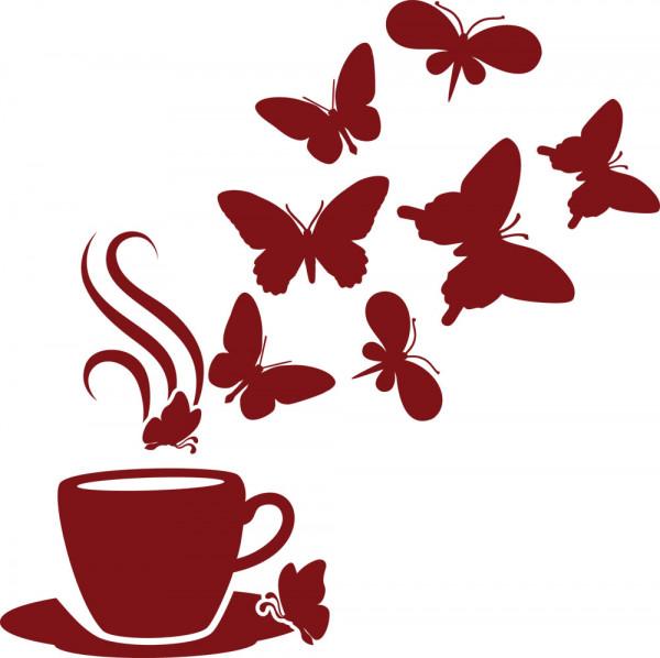 Wandtattoo Wandaufkleber Kaffee Bar Deko für Küche Kaffeetasse Schmetterlinge