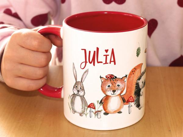 Tasse mit Namen Kinder, Mädchen rot
