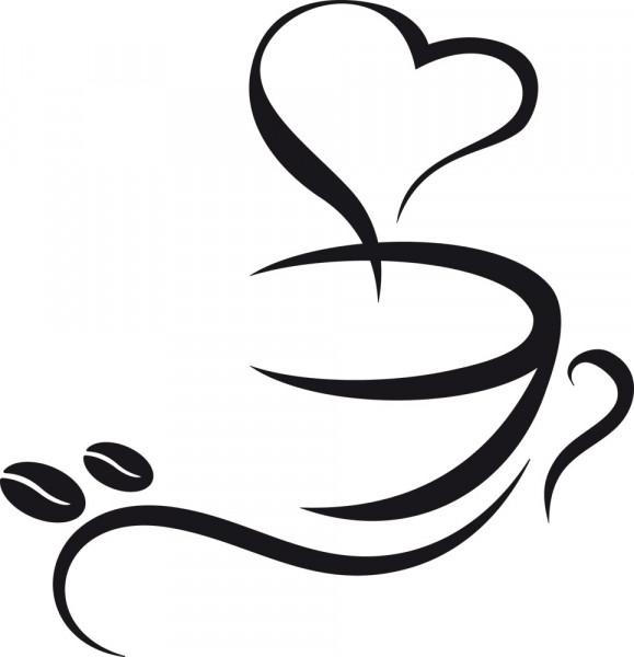 Wandtattoo Design Kaffeetasse mit Kaffeebohnen