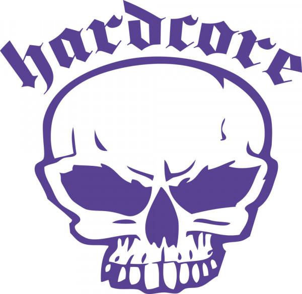 Wandtattoo Musik Schriftzug Hardcore mit Totenkopf für Ihre Räume