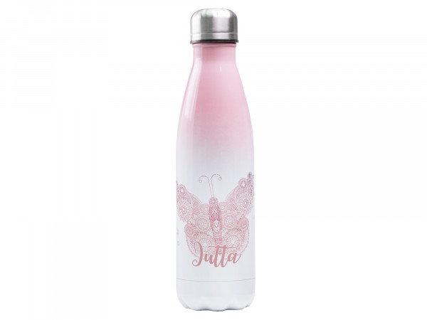 Trinkflasche rosa ♥ personalisiert - Mandala Schmetterling