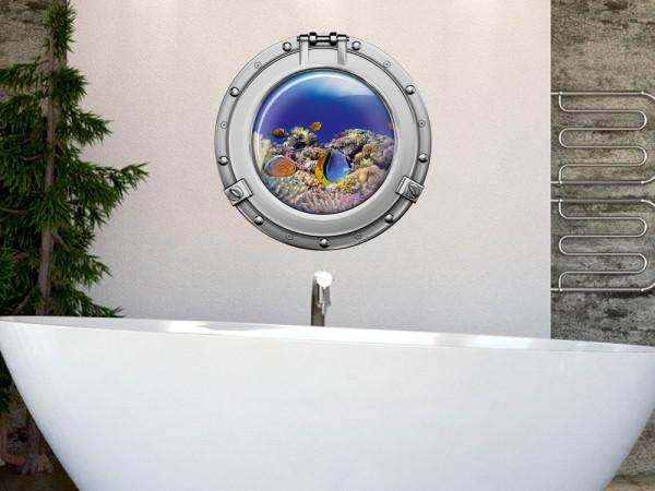 Wandsticker Wandaufkleber Badezimmer Bullauge Korallen Fische WC