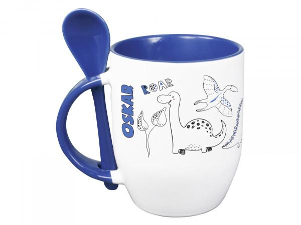 Tasse mit Löffel personalisiert mit Namen und Dinos