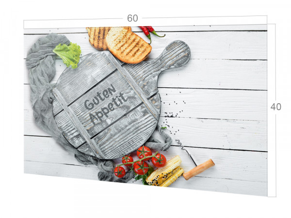 Spritzschutz Küche Glas Spruch Guten Appetit Grau