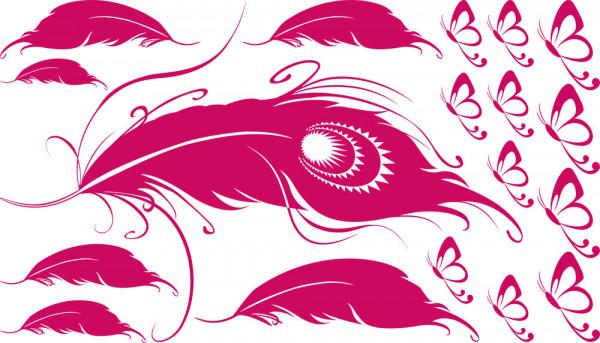 Wandtattoo Aufkleber Tattoo Set für Mädchenzimmer Federn Schmetterlinge