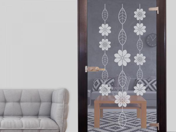 Glastattoo Wohnzimmer Blumenranken