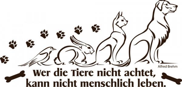 Wandtattoo Tiere Sprüche Hund für Wohnzimmer Spruch Wer die Tiere nicht achtet