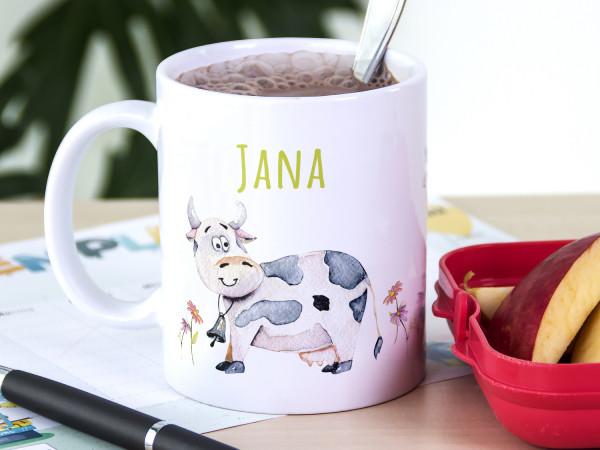Tasse mit Namen Kinder, personalisiertes Geschenk Weihnachten Geburtstag, als Geschenkidee, Becher, lustige Kühe