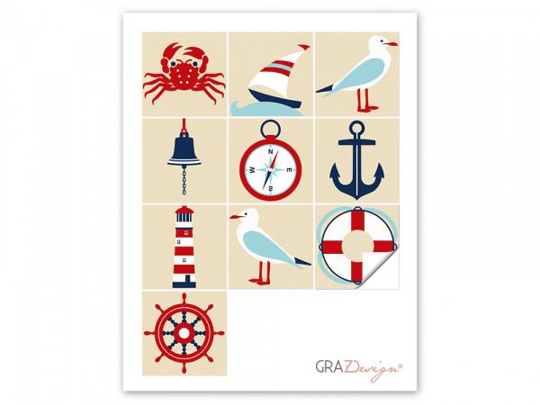 Fliesen zum Aufkleben Set Möwe Schiff Glocke Krabbe
