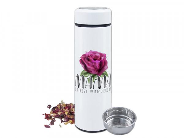 Teeflasche  Mama Du bist wunderbar mit Rose