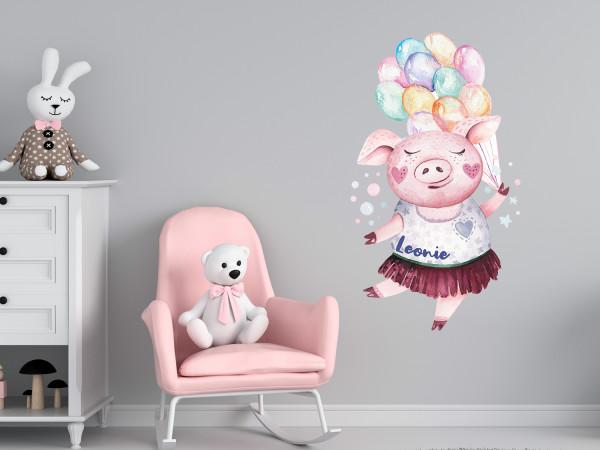 Wandtattoo personalisiert mit Namen, süßes Schwein