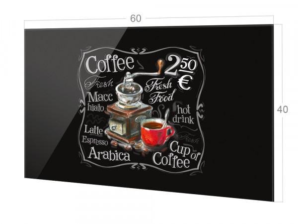 Spritzschutz Küche Glas Kaffee Coffe Schwarz