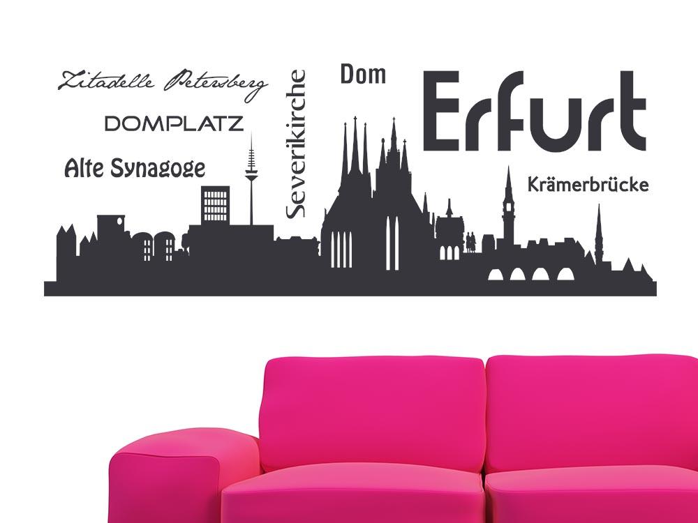 Wandtattoo skyline erfurt dom kr merbr cke stadt alte - Wandtattoo erfurt ...