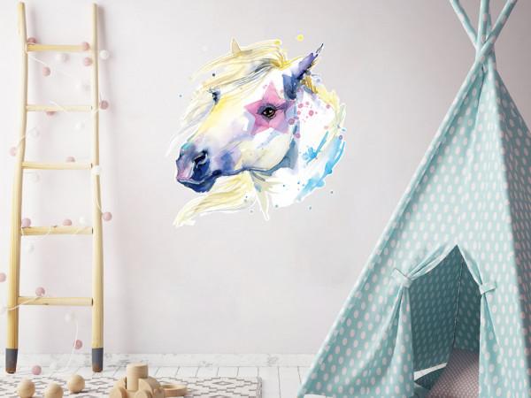 Wandtattoo Pferd weiß mit Stern - perfekt für Mädchenzimmer