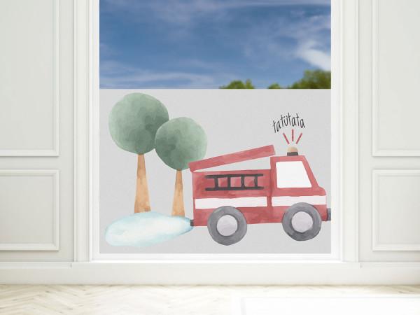 Sichtschutzfolie Kinderzimmer Feuerwehr Auto, Fensterfolie