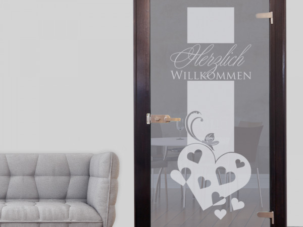 Glastür Aufkleber für Flur Eingang Willkommen Herzen