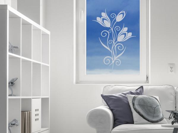 Glastattoo Wohnzimemr Blumenornamente