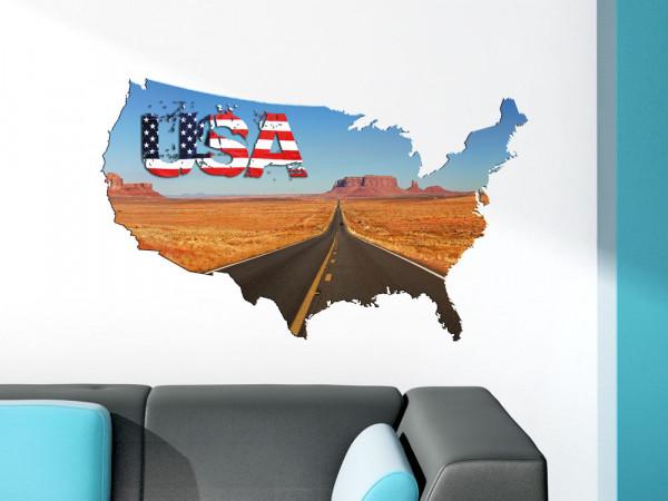 Wandtattoo USA Amerika Route Flagge