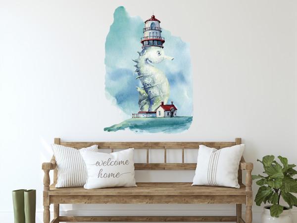 Wandtattoo Leuchtturm mit Seepferdchen