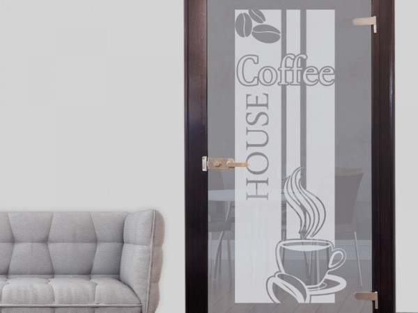 Glastür Aufkleber Fensterfolie für Küche Spruch Coffee Kaffee