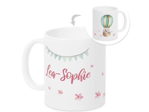 Tasse für Mädchen Heißluftballons mit Wunschnamen