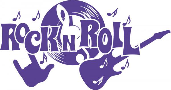 Wandtattoo Schriftzug Rock n Roll mit Rockelementen