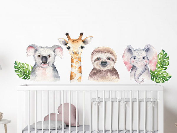 Wandtattoo Dschungel Waldtiere für Kinderzimmer