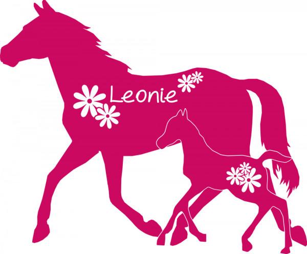 Wandtattoo für Mädchenzimmer Wunschname Pferd Fohlen Blumen