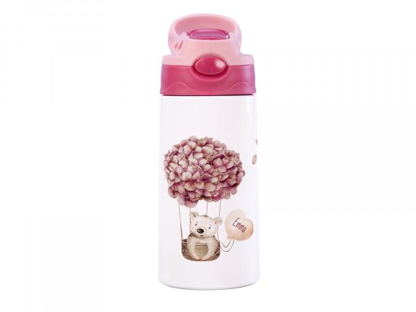 Thermosflasche für Mädchen mit Wunschname - Bär im Blumen Heißluftballon