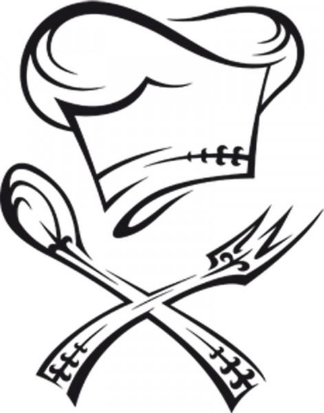 Wandtattoo Küche Kochmütze mit Besteck Symbol
