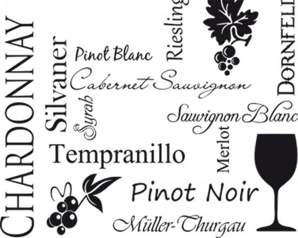Wandtattoo Schlagworte Weinsorten für Ihre Küche
