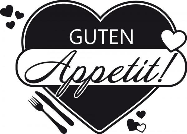 Wandtattoo für Küche Spruch Guten Appetit Herzen Gabel