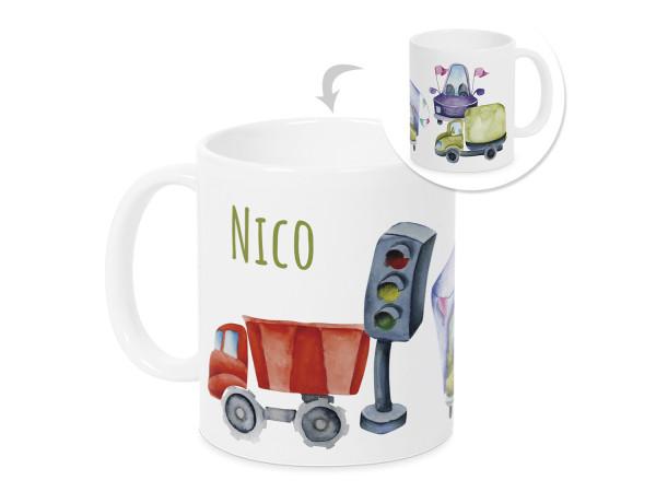 Tasse mit Namen und Autos, personalisiertes Geschenk
