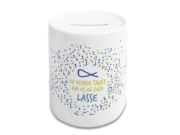 Spardose zur Taufe Personalisiert mit Namen und Punkten - Geschenkidee