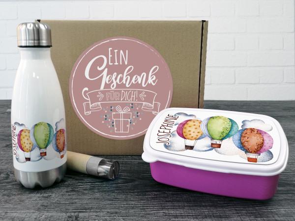 Geschenkbox für Kinder, personalisiert mit Namen, Einschulung - Heißluftballons