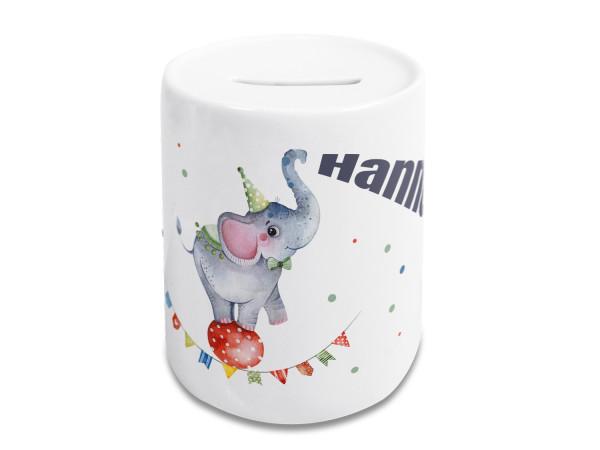 Spardose Kinder mit Name Junge, Geschenk personalisiert Taufe, Geburtstag Motiv Elefant