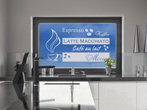 Fenstertattoo Küche Kaffee, Fensterfolie für Fenster