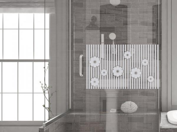 Fensterfolie für Dusche mit Blumen, Glastattoo für Duschtür